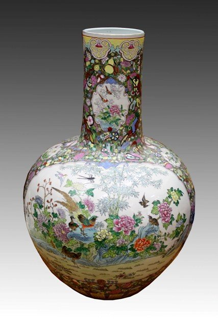 Large Chinese Famille Rose Bottle Vase 20th C