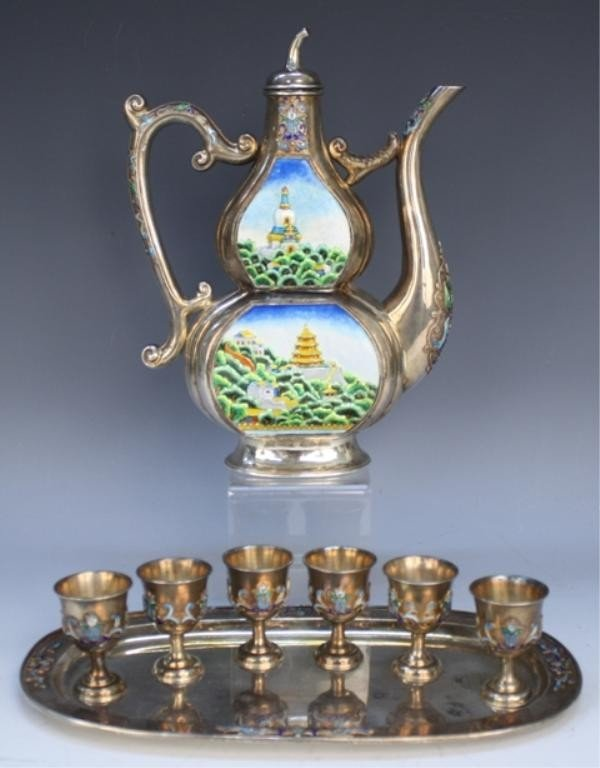 Eight Piece Silver & Enamel Chinese Wine Set