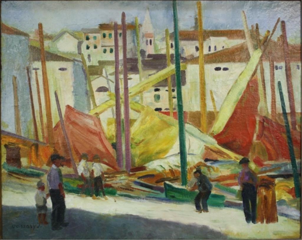 Fishing Boats by J. Vaszary (Hungarian, 1867-1939)