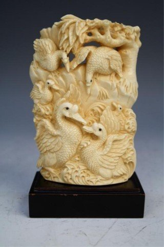 Chinese Ivory Carving of 6 Swans