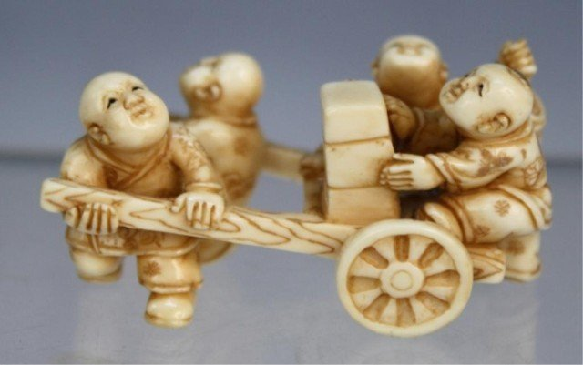 Chinese Small Ivory Carving of Boys and Cart