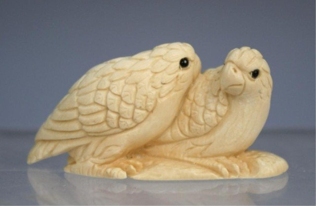 Chinese Small Ivory Carving of 2 Birds