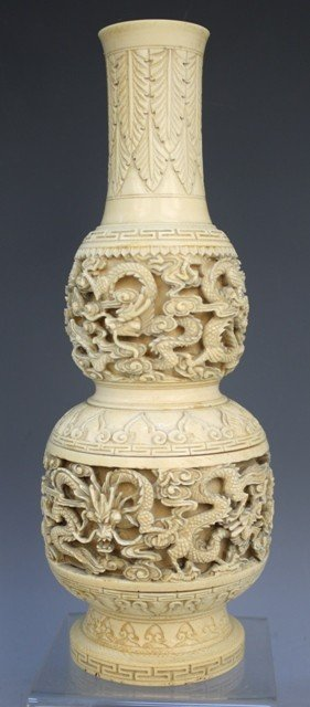 Chinese Carved Ivory Double Gourd Vase Early 20thC