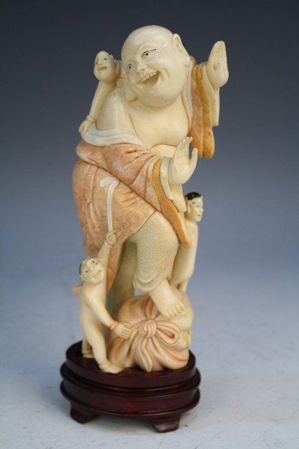 Chinese Polychrome Ivory Buddha Carving Early 20C.