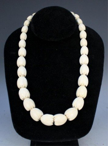 Chinese Carved Ivory Floral Beaded Necklace
