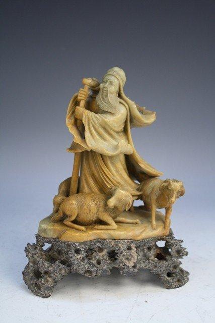 Chinese Soapstone Carving of Shepherd & Sheep