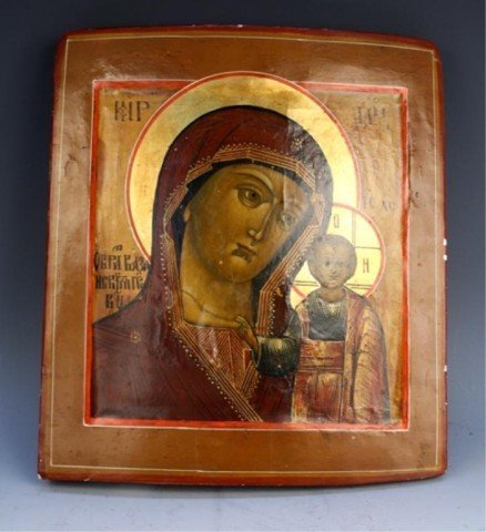 Russian Icon Painting on Wood - Madonna & Child