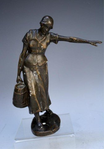 French H. Muller Bronze Female Figure 1920s