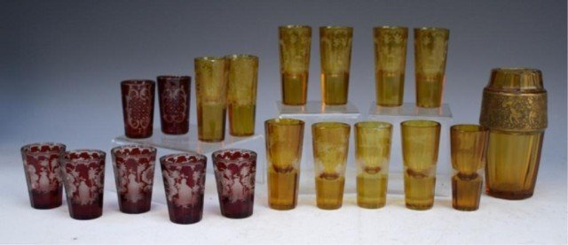 19 French Yellow & Red Glasses early 19th Century - 3