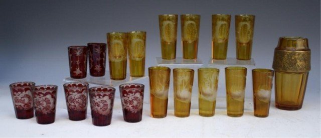 19 French Yellow & Red Glasses early 19th Century - 4