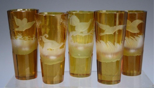 19 French Yellow & Red Glasses early 19th Century - 6