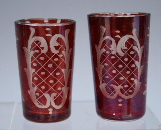 19 French Yellow & Red Glasses early 19th Century - 7
