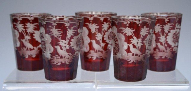 19 French Yellow & Red Glasses early 19th Century - 8