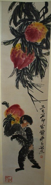Chinese Scroll Painting of Peaches attr. Qi Baishi