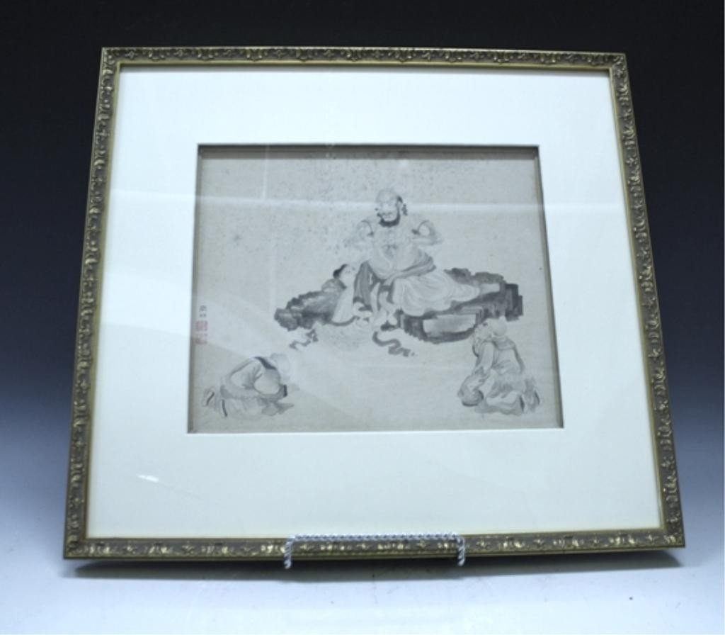 Pair of Framed Chinese Paintings of Luo Han