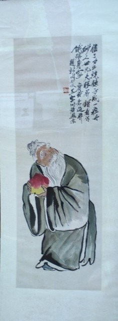 Chinese Painting of Shoulao Signed Qi Baishi