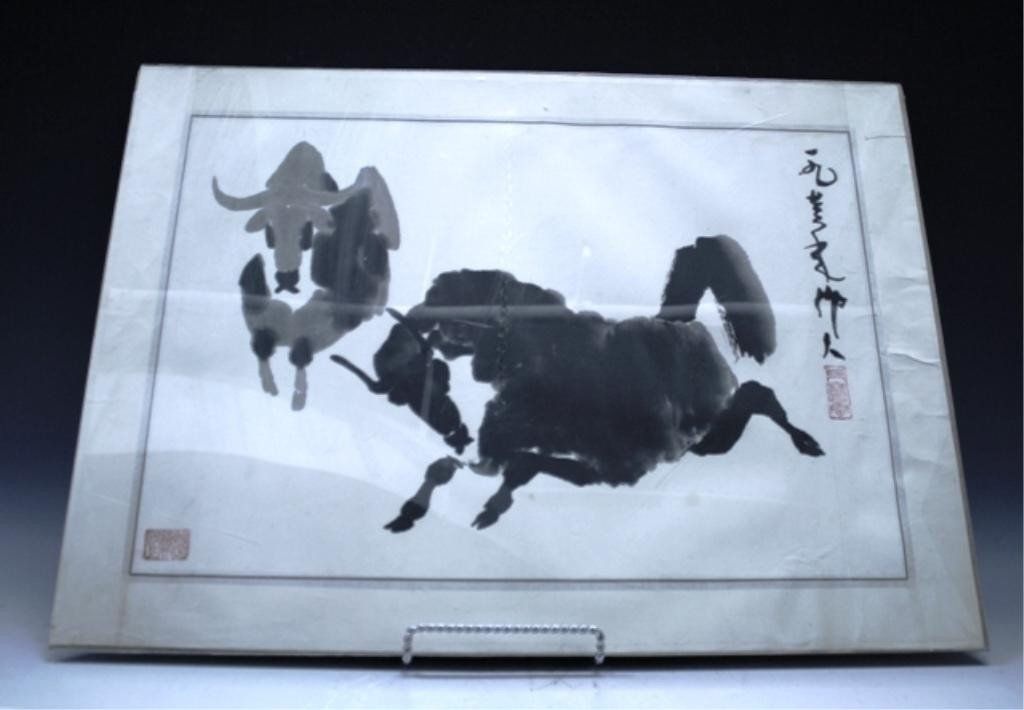 Chinese Painting of Buffalo Signed Wu Zuoren