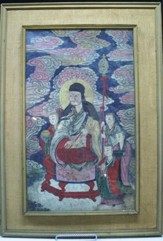 Chinese Framed Painting of Deities 19th C.