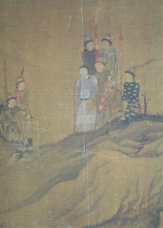 Chinese Painting on Silk of Figures 18th C.