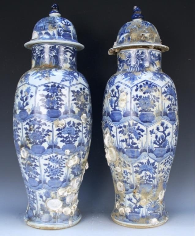 Pair of Chinese Blue & White Lidded Kangxi Jars
