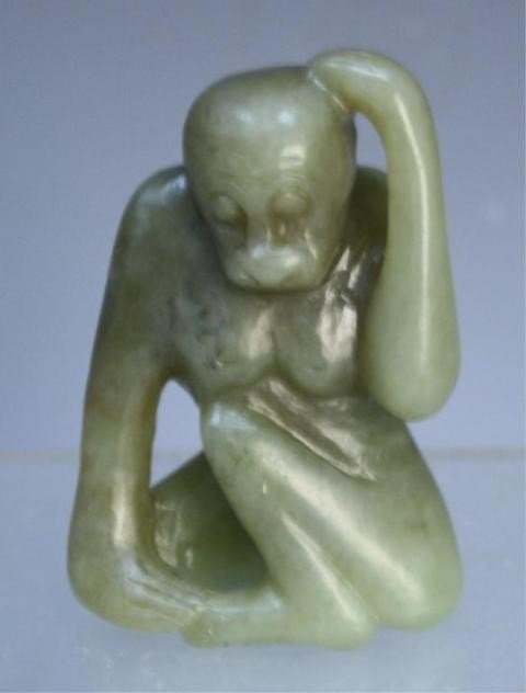 19: Small Carved Jade Monkey