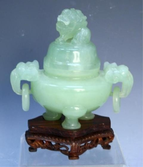 20: Chinese Small Carved Jade Tripod Censer