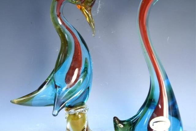 125: Pair of Handmade Venetian Glass Colorful Swans - 10