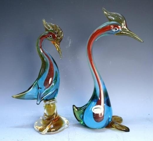 125: Pair of Handmade Venetian Glass Colorful Swans