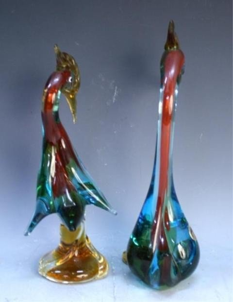 125: Pair of Handmade Venetian Glass Colorful Swans - 2