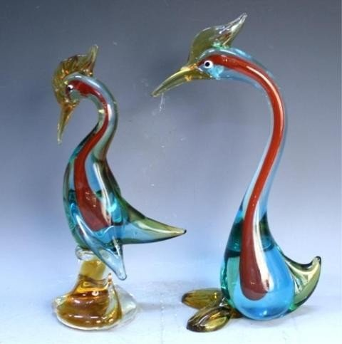 125: Pair of Handmade Venetian Glass Colorful Swans - 3