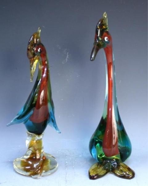 125: Pair of Handmade Venetian Glass Colorful Swans - 4