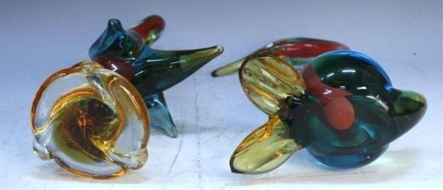 125: Pair of Handmade Venetian Glass Colorful Swans - 6