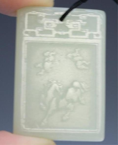 9: Chinese White Jade Plaque Amulet with Horse