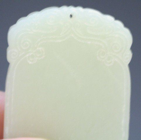 10: Chinese White Jade Blank Plaque Amulet - 7