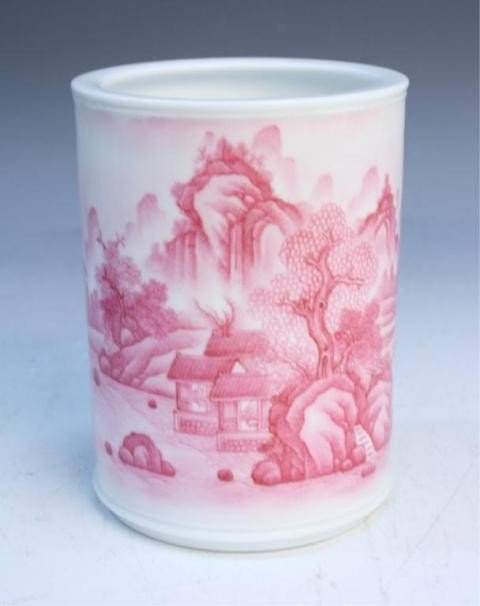 43: Chinese Brushpot with Rose Colored Landscape
