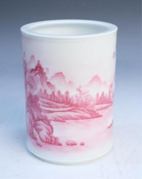 43: Chinese Brushpot with Rose Colored Landscape - 2