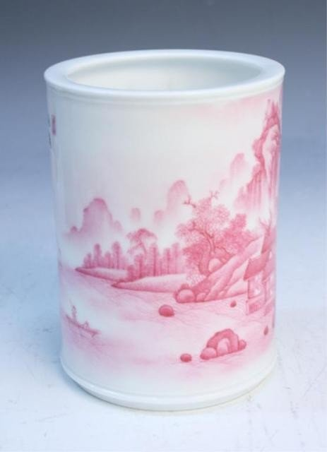 43: Chinese Brushpot with Rose Colored Landscape - 4