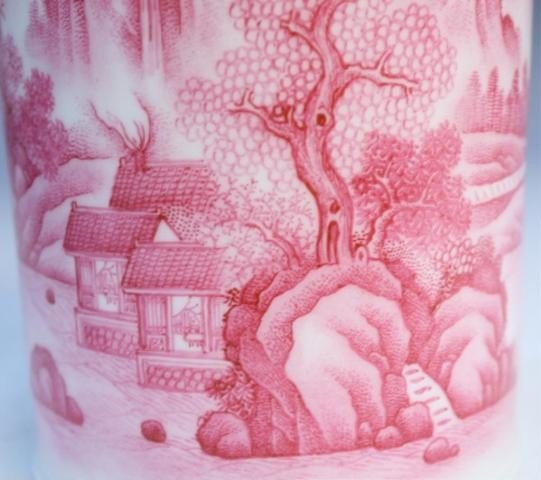 43: Chinese Brushpot with Rose Colored Landscape - 9