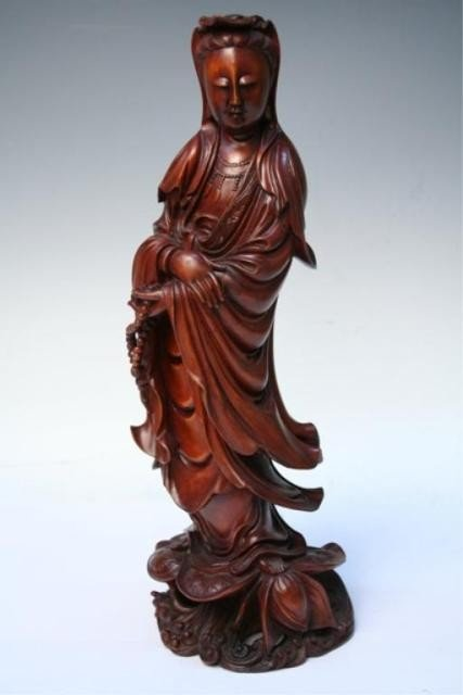 503: 19th C. Chinese Carved Wood Guanyin Figure