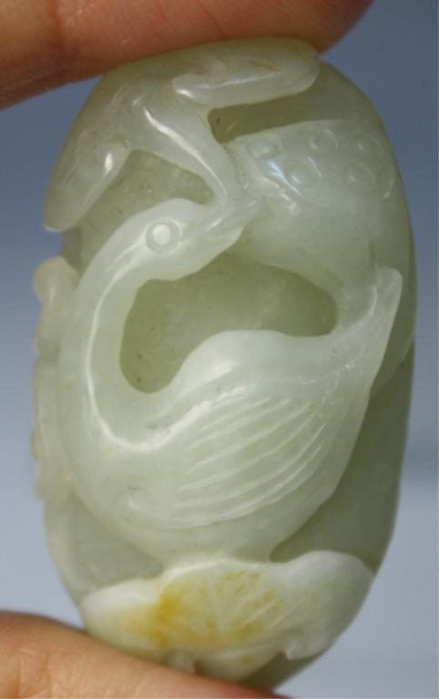 21: Chinese Small Jade Carving of Bird & Mushrooms