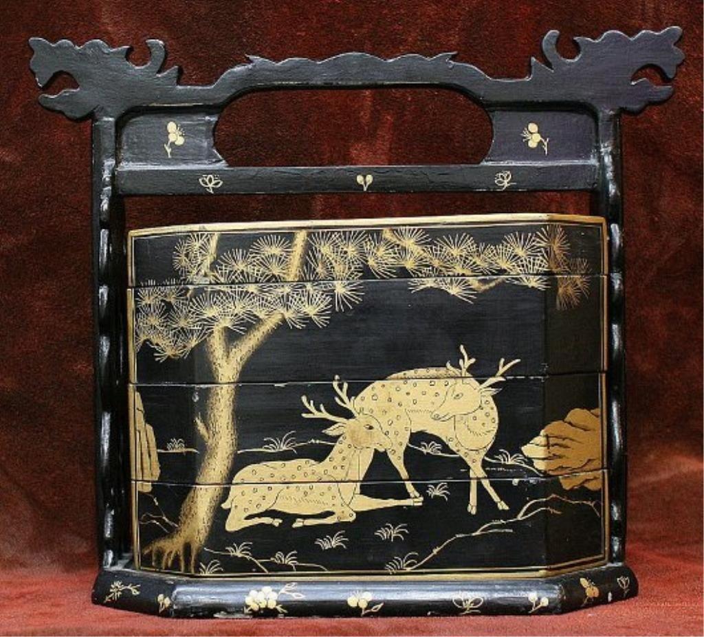 75: Japanese Antique Gold & Black Lacquer Obento Box