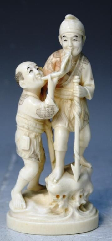 83: Japanese Ivory Carving of Two Fisherman
