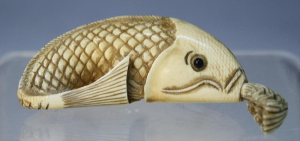 84: Chinese Ivory Carved Fish Snuff Bottle Qing Dyn.