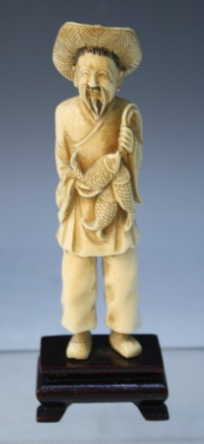 85: Chinese Carved Ivory Fisherman