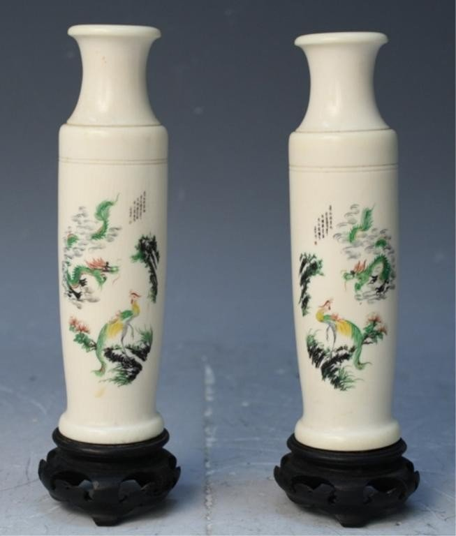 87: Chinese Pair of Carved Painted Ivory Bottles