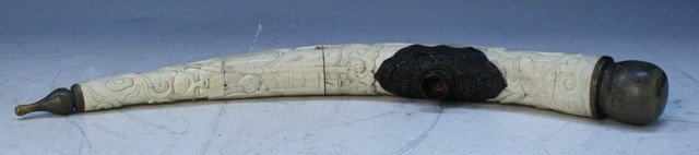 90: Chinese Bone Pipe with Carved Decoration