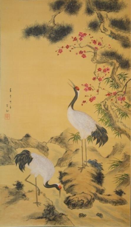 92: Chinese Bird & Flower Scroll Painting attr. Liu Ji