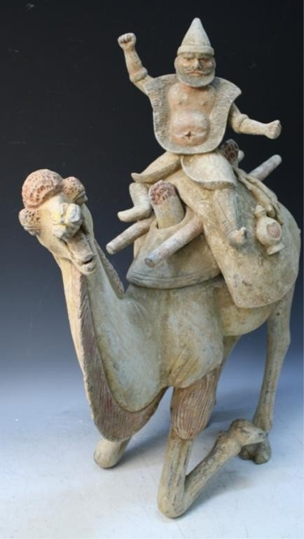 201: Chinese Tang Dyn Pottery Camel & Rider