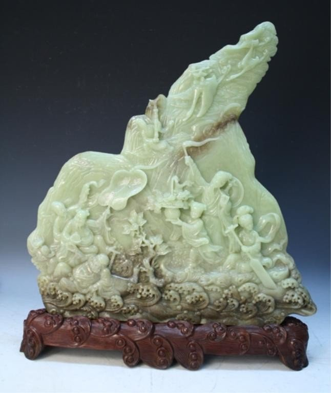 350: Chinese Large Yellow Jade Carving 19th C.