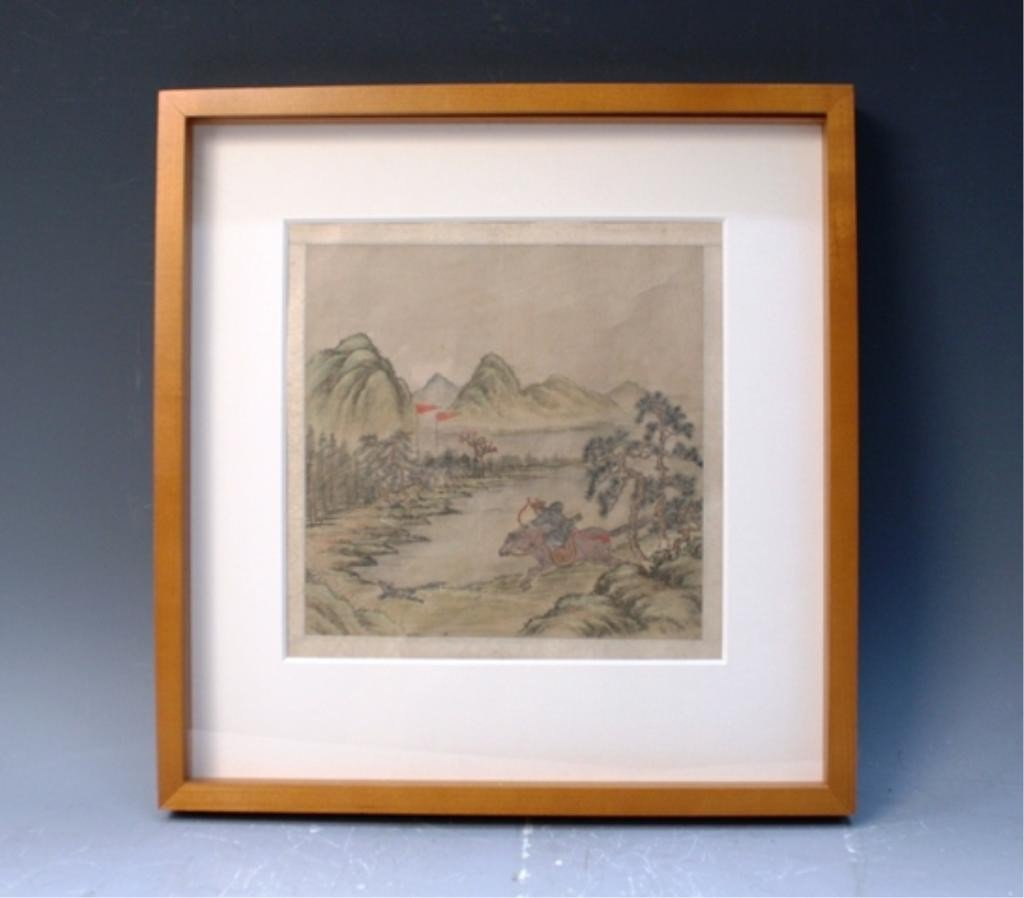 1: Chinese Framed Painting of Hunting Scene 19th C.